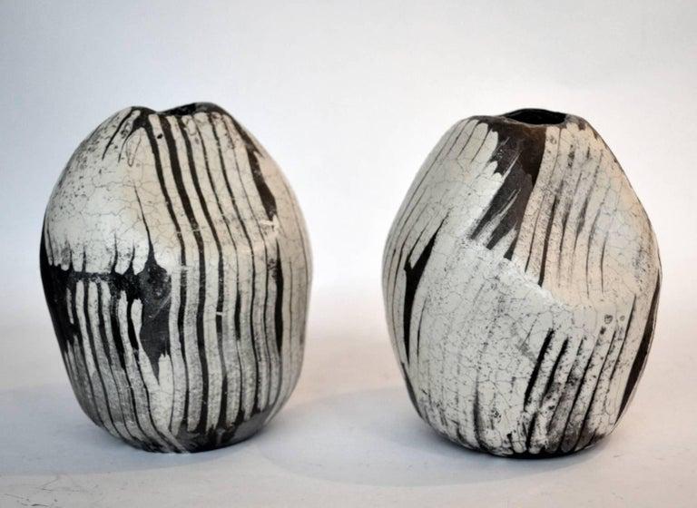 Studio Pottery Pair Of Black And White Raku Vases At 1stdibs