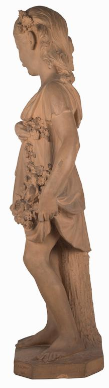 19th Century Statue of a Young Girl with a Garland of Flowers For Sale