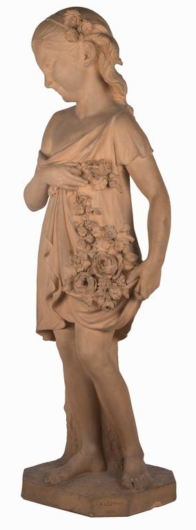Statue of a Young Girl with a Garland of Flowers In Good Condition For Sale In Salt Lake City, UT