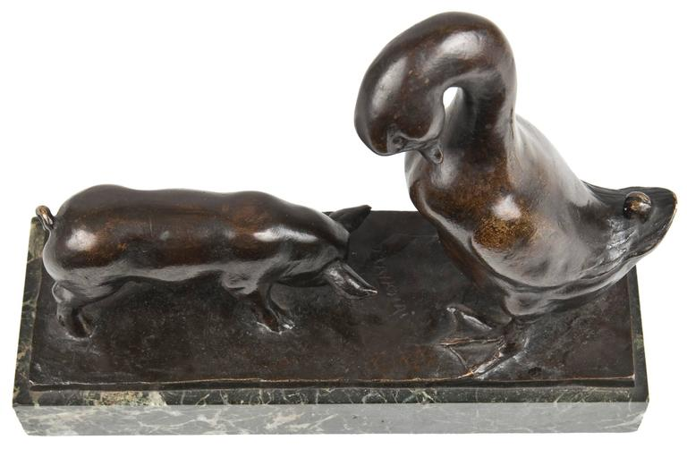 American 20th Century Bronze Titled Pig and Duck by Mahonri Macintosh Young For Sale