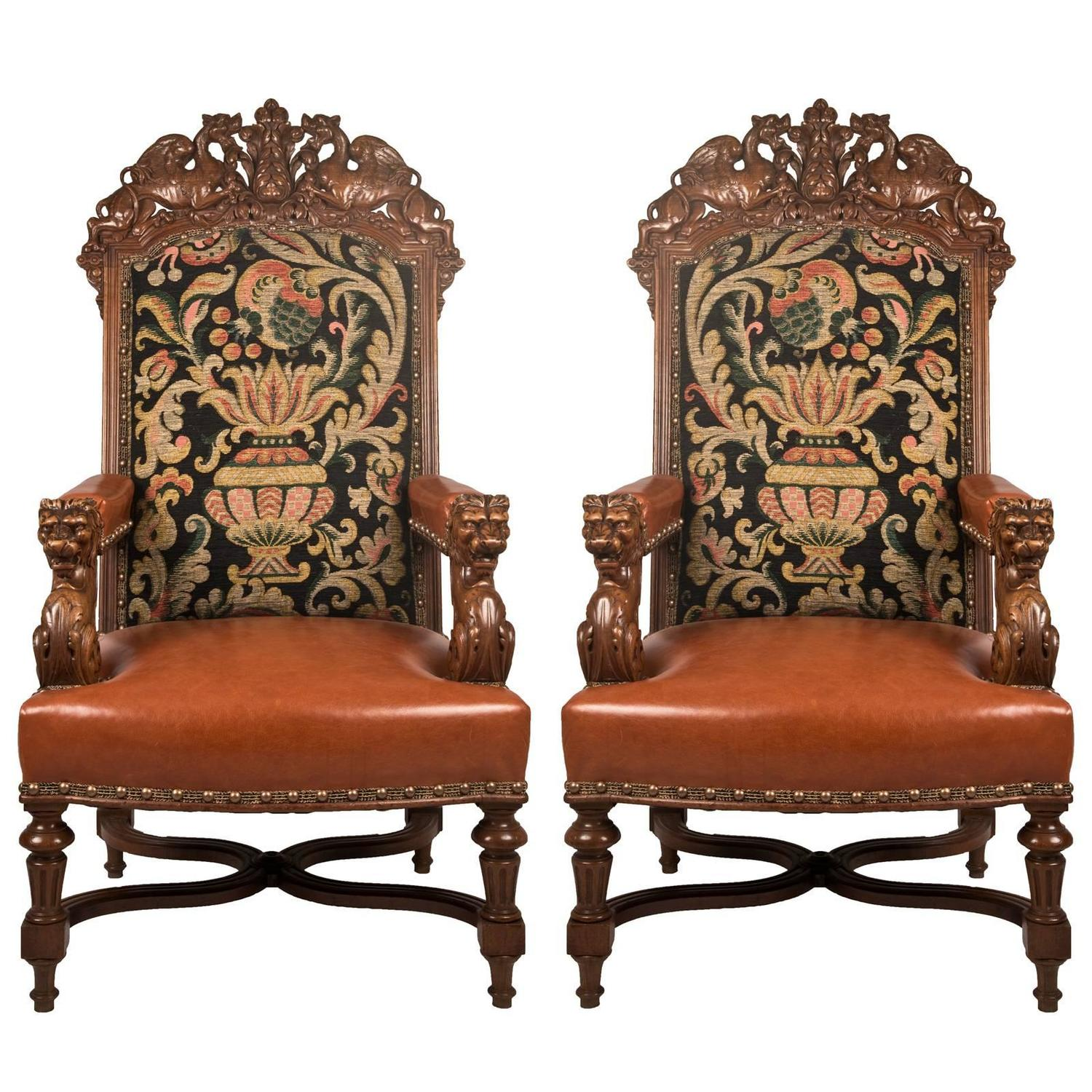Louis Xiv Furniture Style: Pair Of 19th Century Louis XIV Style Fauteuil Walnut