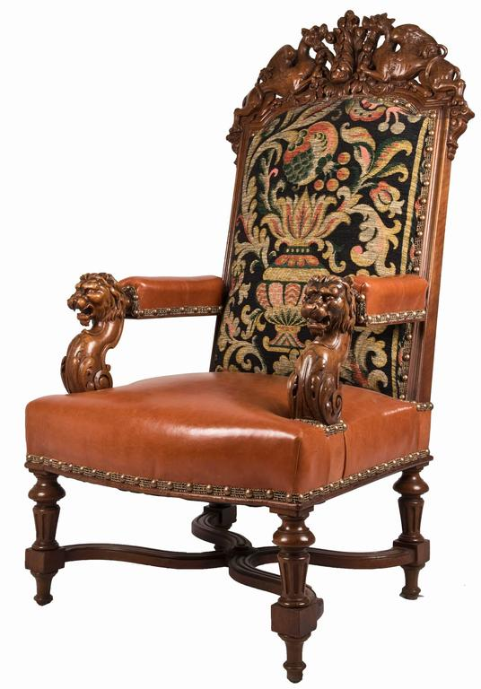 pair of 19th century louis xiv style fauteuil walnut. Black Bedroom Furniture Sets. Home Design Ideas