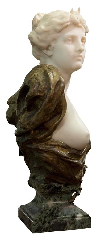 19th Century French Ormolu and White Marble Bust of Diana by Henri Weigéle 4
