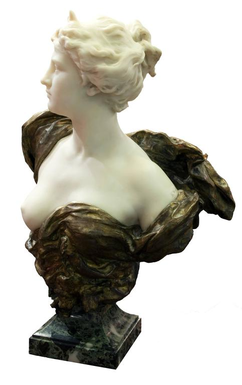 19th Century French Ormolu and White Marble Bust of Diana by Henri Weigéle 2