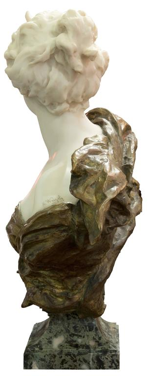 19th Century French Ormolu and White Marble Bust of Diana by Henri Weigéle 3