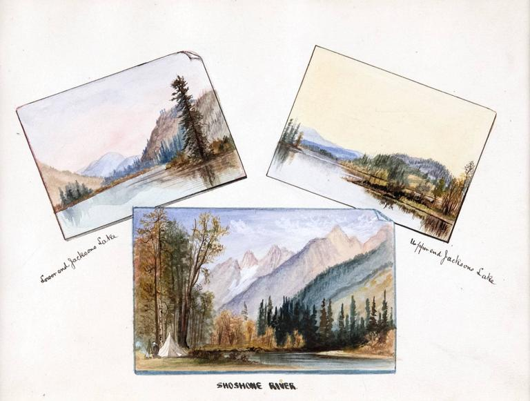 This 19th century work on paper depicts three representations from Jackson Hole, Wyoming: The mountainous view of Lower end Jackson Lake, a golden sky above the view of upper end Jackson Lake and a small camp on the banks of Shoshone River. Beard