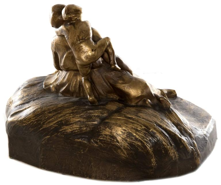 French Figural Bronze of Mother with Children by Lucien Alliot In Good Condition For Sale In Salt Lake City, UT