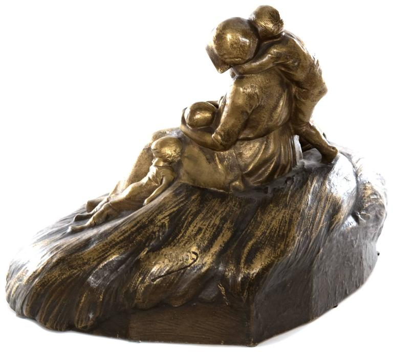 20th Century French Figural Bronze of Mother with Children by Lucien Alliot For Sale