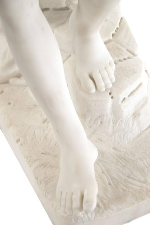 Carved 19th Century Marble Sculpture of Hermes For Sale