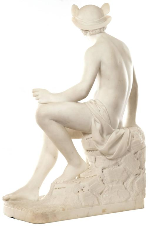 Greek Revival 19th Century Marble Sculpture of Hermes For Sale