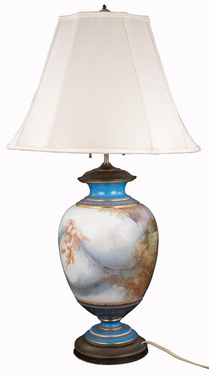19th Century Sevres Table Lamp with Bacchus Painted Panel 3