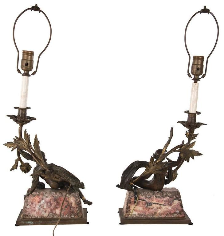 Pair of Neoclassical Bronze and Marble Table Lamps 2