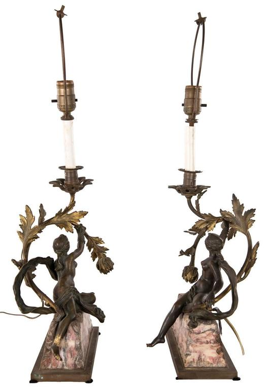 Pair of Neoclassical Bronze and Marble Table Lamps 6