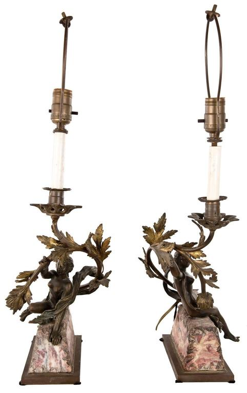 Pair of Neoclassical Bronze and Marble Table Lamps 3