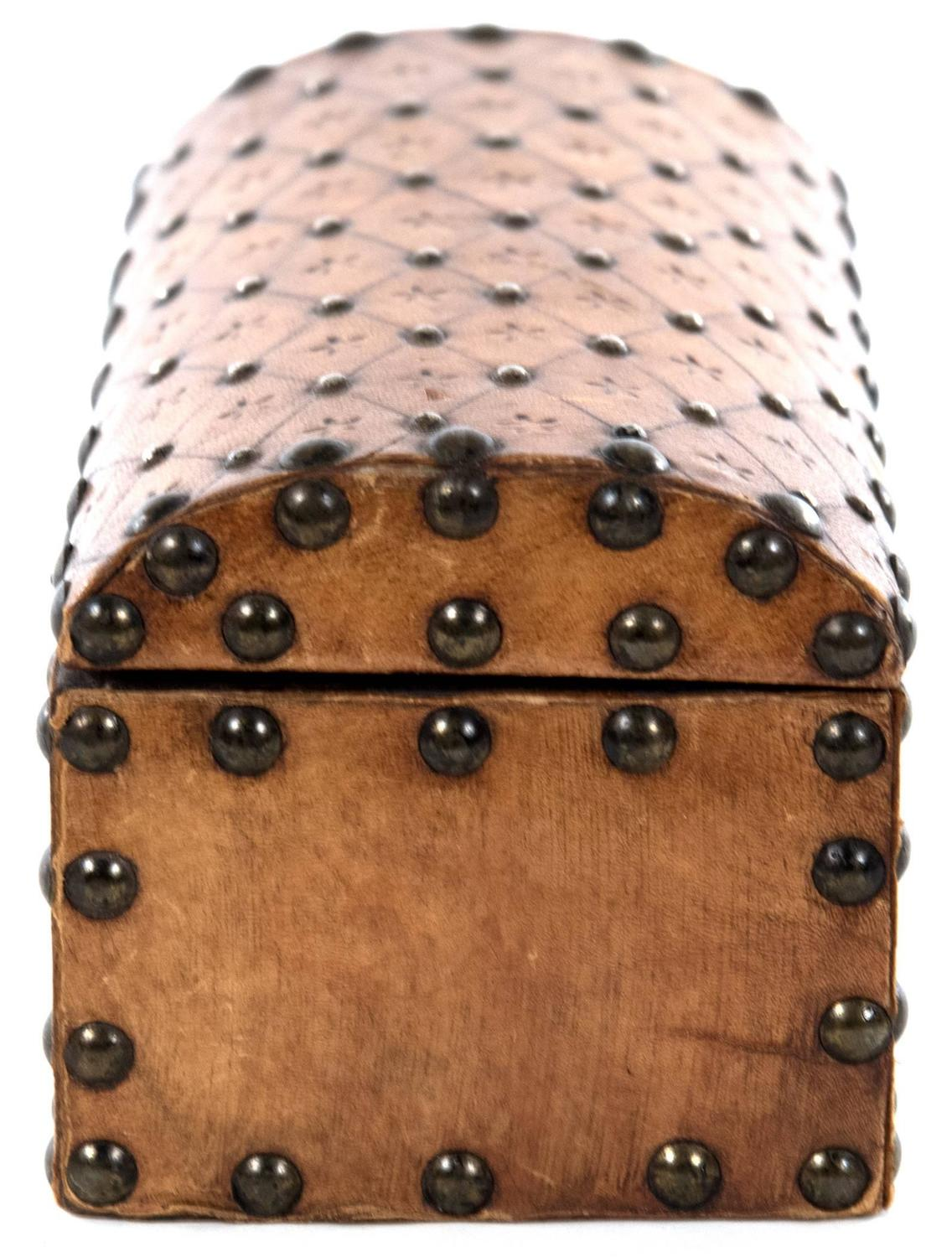 19th Century Box With Embossed And Studded Leather For