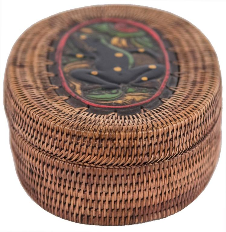 Northwestern Native American Oval Basket Box Lidded With Polychrome Frog Motif At 1stdibs