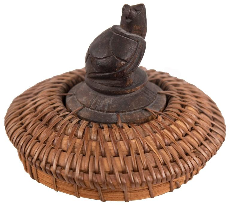 Northwestern Ovoid Vessel With Carved Turtle Finial At 1stdibs
