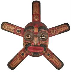 Pacific Northwestern Native American Sun Mask with Attached Sun Ray Bursts