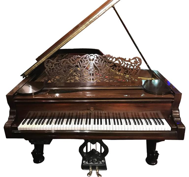 Rococo Steinway Concert Grand Piano with Rosewood and Ebonized Case For Sale