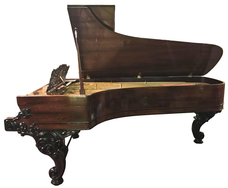 American Steinway Concert Grand Piano with Rosewood and Ebonized Case For Sale