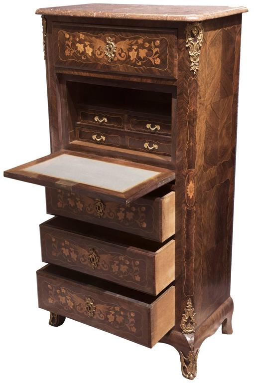 louis xv style french marquetry inlaid secr taire abattant for sale at 1stdibs. Black Bedroom Furniture Sets. Home Design Ideas