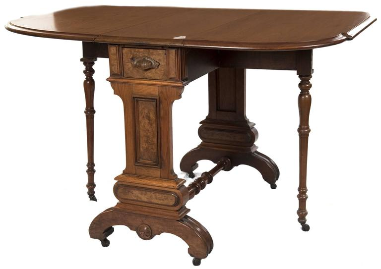 Oak And Burl Walnut Sutherland Drop Leaf Table At 1stdibs