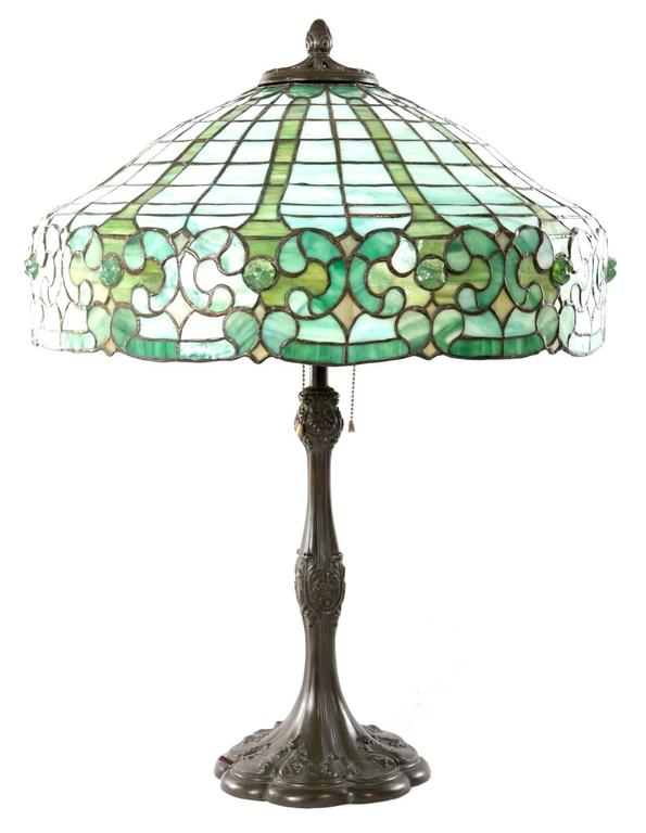 Whaley Stained Glass and Bronze Table Lamp 3