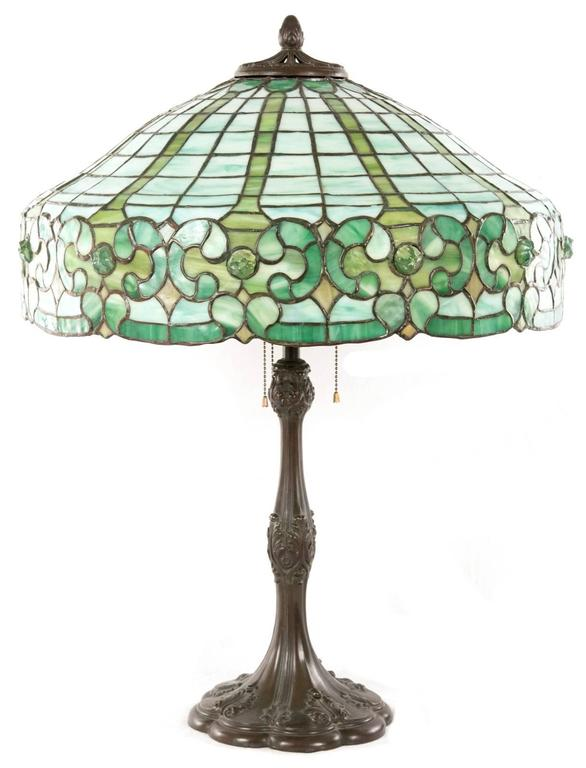 Whaley Stained Glass and Bronze Table Lamp 4