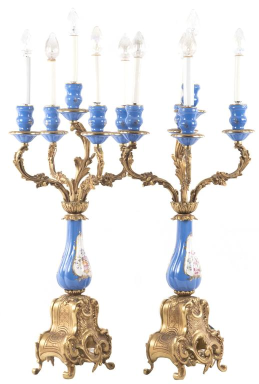 Sevres-Style Porcelain and Ormolu-Mounted Five-Light Candelabra 2