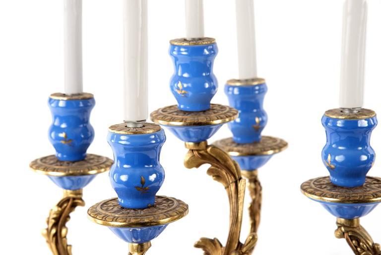 Sevres-Style Porcelain and Ormolu-Mounted Five-Light Candelabra 3