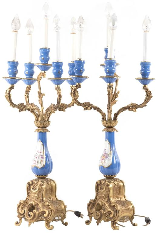 Sevres-Style Porcelain and Ormolu-Mounted Five-Light Candelabra 6