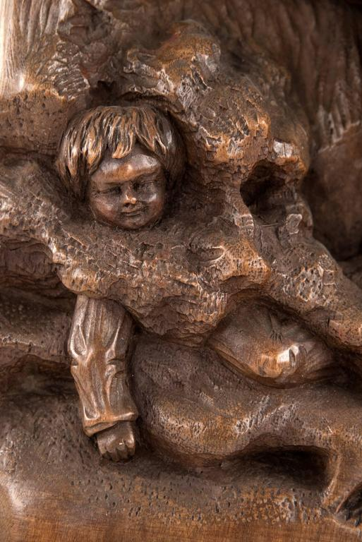 German wood carving of a rescue dog for sale at stdibs