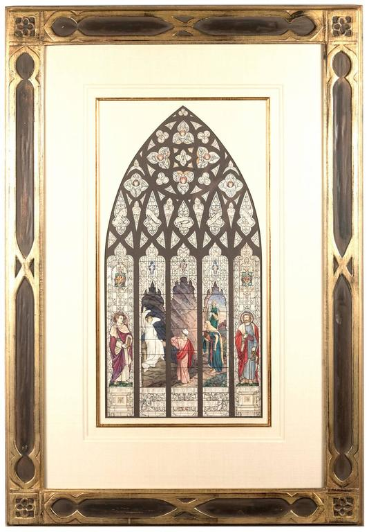 An original watercolor created by the artists Thomas William Camm (British, 1839-1912) for a Church commission. Camm is considered one of Great Britain's most talented designers of stained glass. Before production on a monumental work of stained