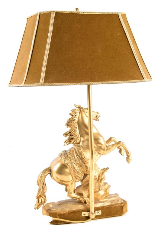 Gilt Bronze Marly Horse Figural Table Lamp 5