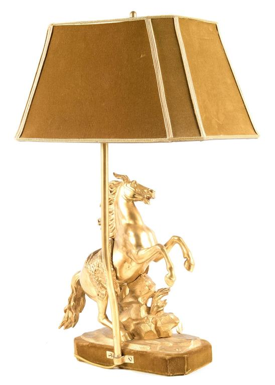 Gilt Bronze Marly Horse Figural Table Lamp 6
