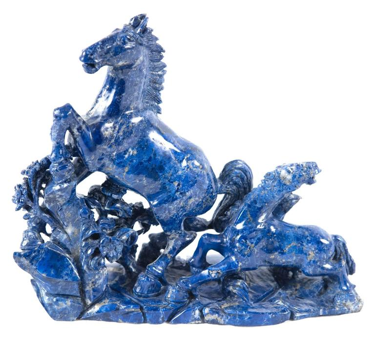 19th Century Blue Marble Horse Sculpture In Good Condition For Sale In Salt Lake City, UT