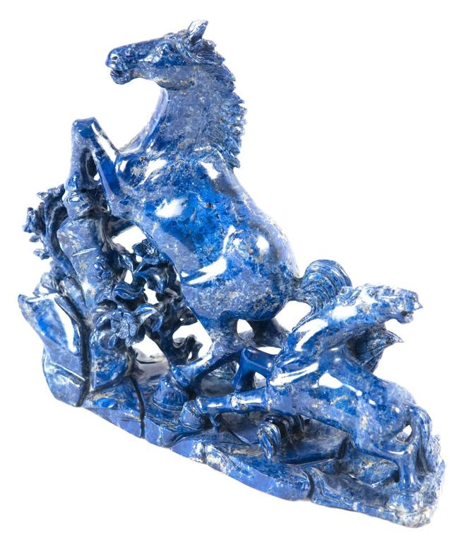 North American 19th Century Blue Marble Horse Sculpture For Sale