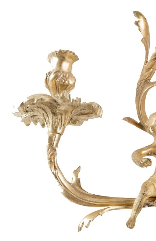 Ormolu Pair of Gilt Louis XV-Style Wall Sconces For Sale