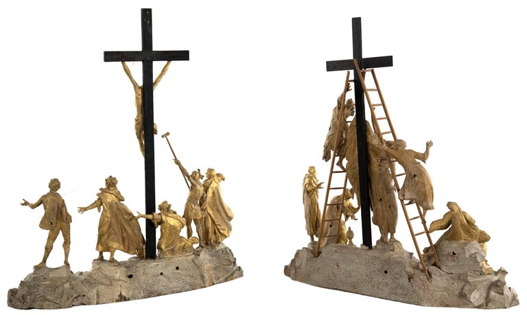 Set of Wood and Gold Leaf Crucifixion Sculptures In Good Condition For Sale In Salt Lake City, UT