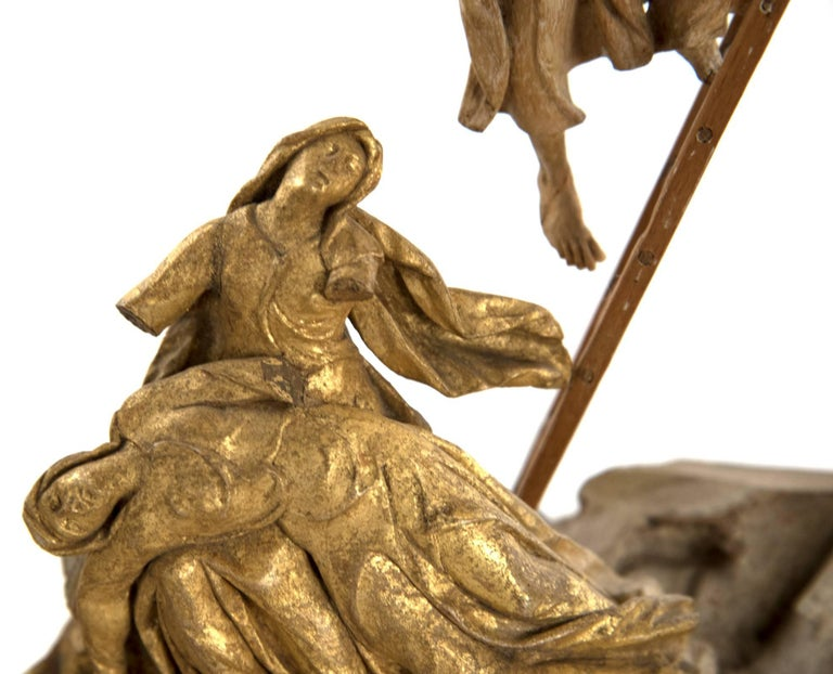Set of Wood and Gold Leaf Crucifixion Sculptures For Sale 4