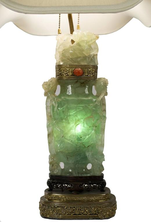 Are Salt Lamps Safe For Birds : Chinese Carved Green Calcite Table Lamp at 1stdibs