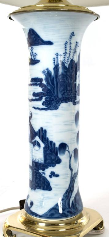 Pair of Chinese Blue and White Gu Vase Table Lamps 4