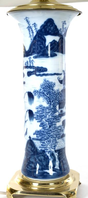 Pair of Chinese Blue and White Gu Vase Table Lamps 3