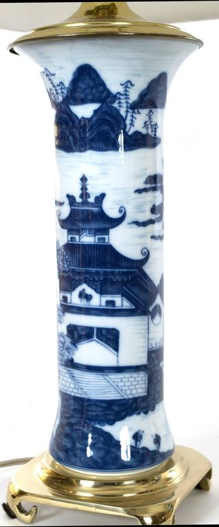 Pair of Chinese Blue and White Gu Vase Table Lamps 2
