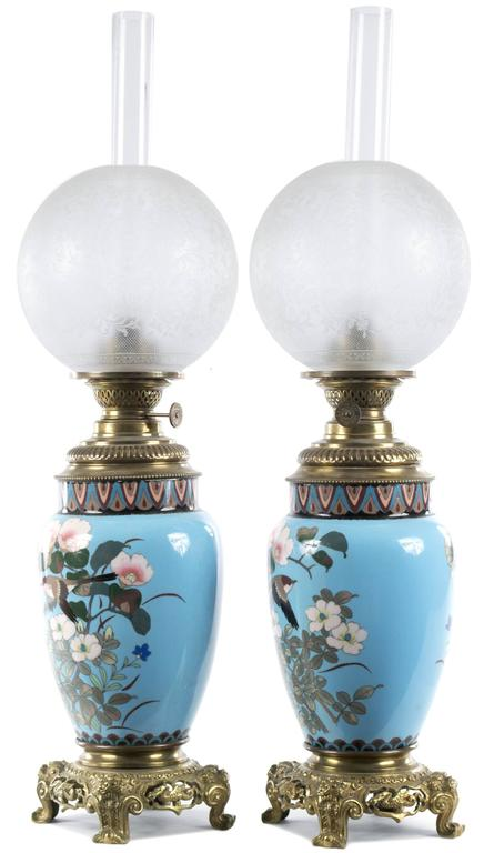 Pair of Meiji Cloisonne Lamps with French Ormolu Fittings For Sale at 1stdibs