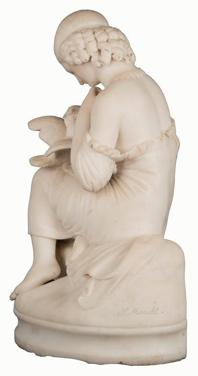 19th Century Figurative Marble Statue of a Young Maiden and Dove In Good Condition For Sale In Salt Lake City, UT