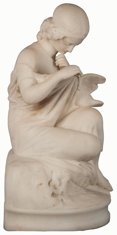 19th Century Figurative Marble Statue of a Young Maiden and Dove For Sale 1