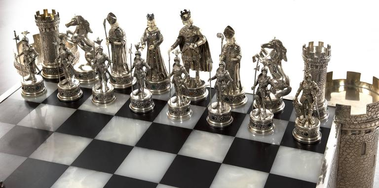 German Jewel Encrusted Silver And Bone Chess Set At 1stdibs