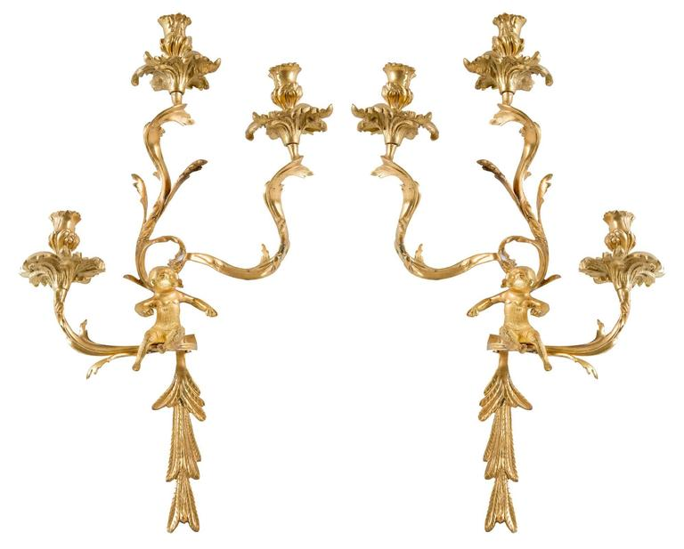 Pair of Gilt Louis XV-Style Wall Sconces For Sale