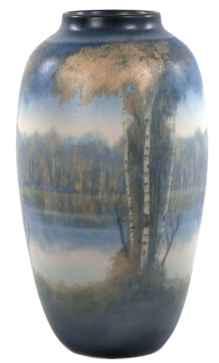 Rookwood Vellum Glazed River Scene Vase By Edward Timothy